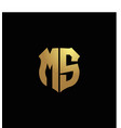ms logo monogram with gold colors and shield vector image vector image