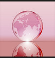 pink shining transparent earth globe vector image vector image