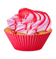 realistic cupcake muffins with cream 3d vector image vector image