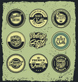retro vintage blue and green label badges vector image vector image