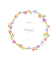 Round floral frame with spring flowers for your vector image vector image