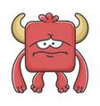 sad red square devil cartoon monster vector image vector image