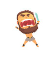 screaming warrior attacking with sword furious vector image vector image