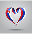 serbian flag heart-shaped ribbon vector image vector image