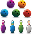 set of colored bowling and pin vector image vector image