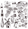 set vintage decorative elements vine and cheese vector image