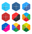 Social network web icon set with adding sign vector image