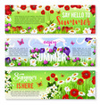 summer flower greeting banner set design vector image