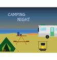 Vintage camping night concept Retro caravan vector image