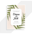 wedding invitation card design with leaves vector image vector image