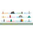 western and northern europe cities landmarks with vector image vector image