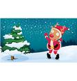A deer wearing Santas clothes vector image vector image