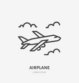 airplane flat line icon sign of plane vector image vector image