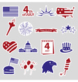 american independence day celebration stickes set vector image