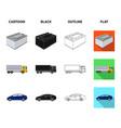 battery and transport cartoonblackoutlineflat vector image