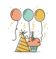 birthday cupcake candle and hat decoration vector image vector image