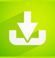 bright green background with download symbol vector image vector image