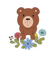 cute animal in cartoon style woodland bear with vector image vector image