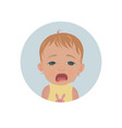 cute crying baby emoticon tearful child emoji vector image