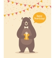 cute funny birthday bear vector image vector image