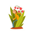 cute little boy walking in tall grass vector image vector image