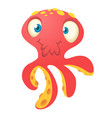 cute red octopus cartoon vector image