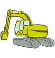 drawn digger on white vector image vector image