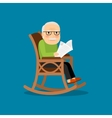 Eldery man on wheelchair vector image