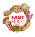 fast food meals and snacks sketch frame vector image vector image