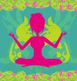 girl sits and meditatesabstract card vector image