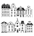 Hand drawn houses borders vector image
