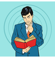 hand drawn pop art of businessman holding book in vector image