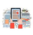 hands use digital tablet finance chart business vector image