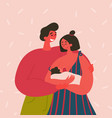 happy couple a breast feeding woman and a man vector image vector image