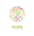 Healthy food store logo with fruit and vegetable vector image