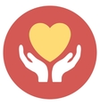 Heart Care Flat Round Icon vector image vector image