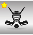 hockey black icon button logo symbol vector image vector image