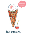 icecream cherry vector image vector image