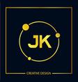 initial letter jk logo template design vector image