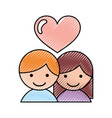 little couple with heart vector image