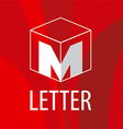 logo the letter M in the form of a cube vector image