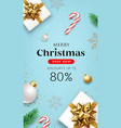 merry christmas sale gift box gold ribbons flyer vector image vector image