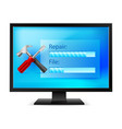 monitor with tools on white background vector image vector image