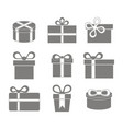 monochrome icon set with gift box vector image vector image