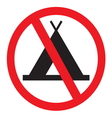 No camping sign vector image vector image
