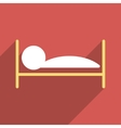 Patient Bed Flat Long Shadow Square Icon vector image