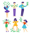 people with pile money characters trowing vector image