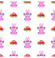 pink hares and red cars seamless pattern on white vector image