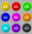 rainbow icon sign symbol on nine round colourful vector image vector image