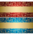 red and blue backgrounds with golden pattern vector image vector image